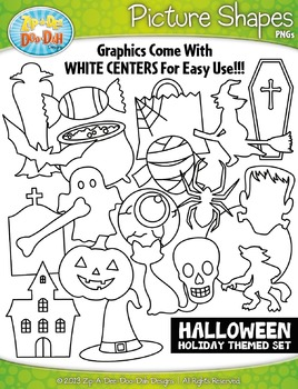 Halloween Holiday Picture Shapes Clipart Set — Includes 20