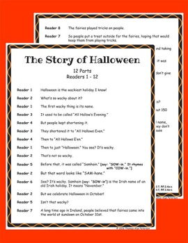 Halloween Readers Theater Holiday Script, Reading & Activity Packet