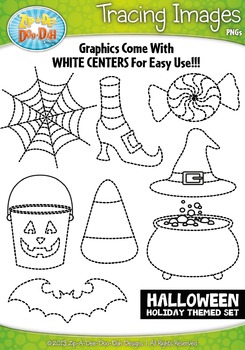 Halloween Holiday Themed Tracing Image Clipart Set — Inclu