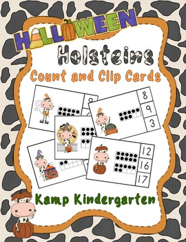 Halloween Holsteins Count and Clip Cards