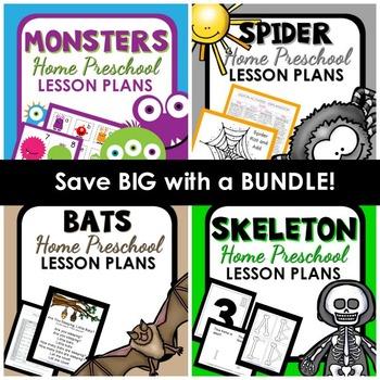 Halloween Home Preschool Lesson Plans Bundle