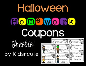 Halloween Homework Coupons Freebie!
