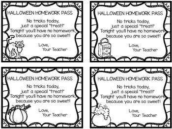 Halloween Homework Pass Freebie!