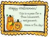 Halloween Homework Pass Fun