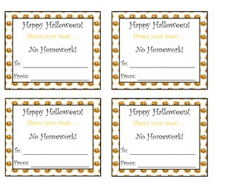 Halloween Homework Passes