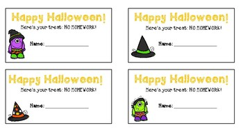 Halloween Homework Passes
