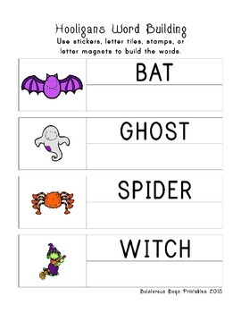 Halloween Hooligans PreK Printable Learning Pack Sampler