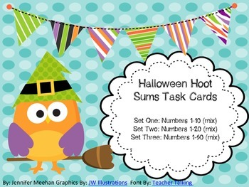 Halloween Hoot Sum Task Cards-Differentiated
