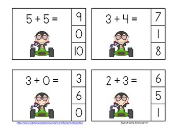 Halloween Hot Rods Addition Math Centers Sums to 10