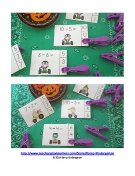 Halloween Hot Rods Subtraction Math Centers (Minuends to 10)