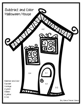 Halloween Haunted House Subtract and Color