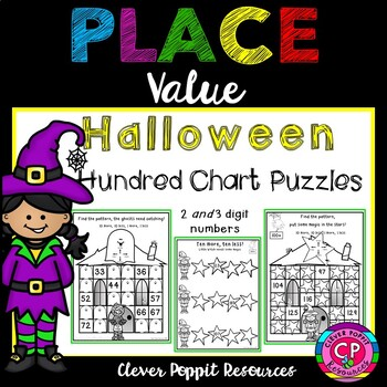 Halloween Hundred Chart Puzzles - 1 more/1 less, 10 more/10 less