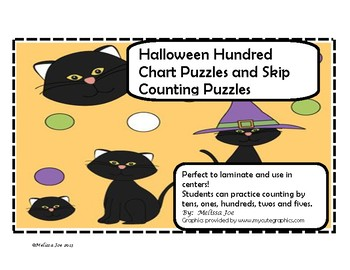 Hundred Chart Puzzles and Skip Counting Puzzles Halloween Theme