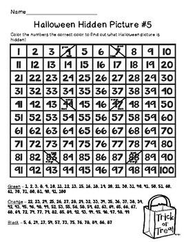 Halloween Hundreds Chart Hidden Picture Packet