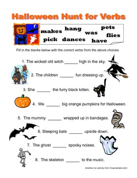 Halloween Hunt for Verbs - Fill in the Missing Verbs Grammar Worksheet