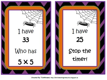Halloween I Have Who Has - Multiplication Facts to 12x12