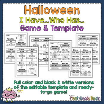 halloween i have who has ready to print game and editable template