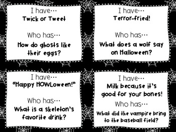 """Halloween:  """"I Have...Who Has"""" Silly Riddles!"""