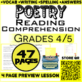 Poetry Comprehension Passages & Questions | 12 Lessons | G