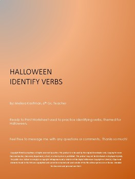 Halloween Identify Verbs