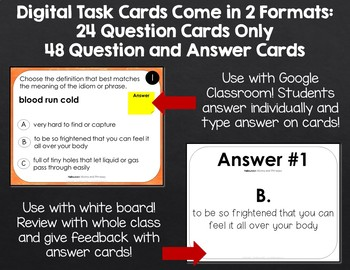 Halloween Idioms and Phrases: Self-Checking Digital Task Cards