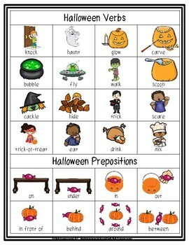 Halloween Illustrated Vocabulary Sheets