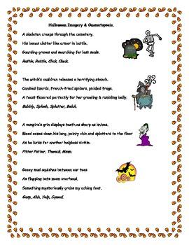 Halloween Imagery Onomatopoeia Writing Activity