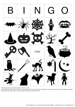 Halloween Images Bingo Cards - 10 Unique Pages