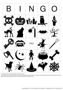 Halloween Images Bingo Cards - 10 Unique Pages