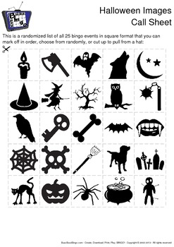 Halloween Images Bingo Cards - 100 Unique Pages