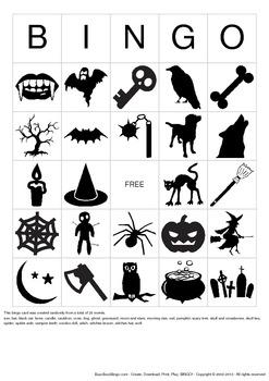 Halloween Images Bingo Cards - 100 Unique Pages