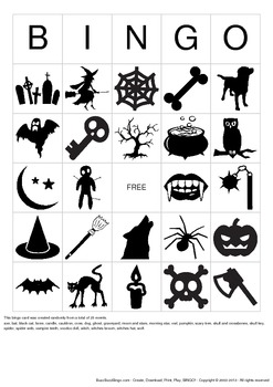 Halloween Images Bingo Cards - 25 Unique Pages