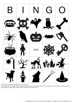 Halloween Images Bingo Cards - 50 Unique Pages