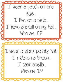 Halloween Inference Cards