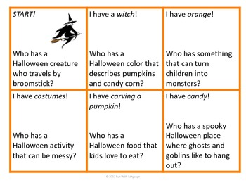 "Halloween Inference Practice with ""I have...Who has...?"" Game & Coloring Page"