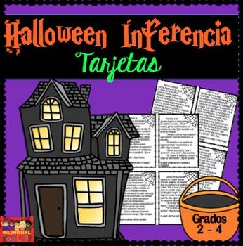 Halloween Inferencia Task Cards en Español Grados 2 - 4 / Spanish Inference