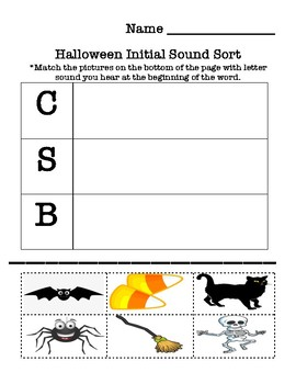 Halloween Initial Sound Sort - Word Work Center