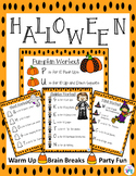 Halloween Instant Activity Warm Up for PE, Brain Breaks and Party Days
