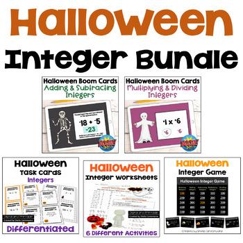 Halloween Integer BUNDLE (Worksheets, Task Cards, Digital Task Cards and Game)