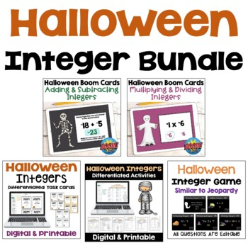 Halloween Integers BUNDLE (Worksheets, Task Cards, and Pow