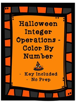 Halloween Integers - Color By Number - Key Included - No Prep