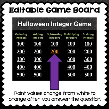 Halloween Integer Game - Similar to Jeopardy
