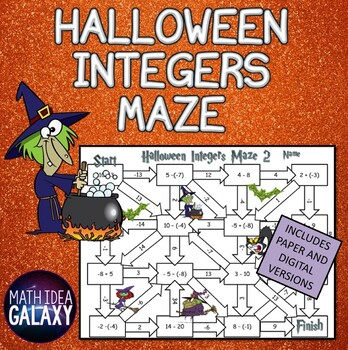 Halloween Activity-Integers Maze