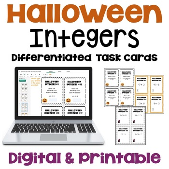 Halloween Math Integer Task Cards (Differentiated)