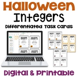 Halloween Math Integer Task Cards Differentiated