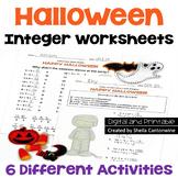 Halloween Integers Worksheets