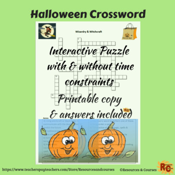 Halloween Interactive & Printable Crossword Puzzle 6th-8th Grade