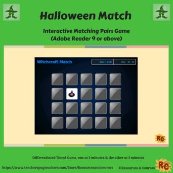 Halloween Interactive Matching Pairs Game Grade 1-5