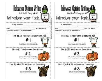Halloween Interactive Notebook: Opinion Writing