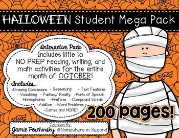 Interactive Halloween Mega Pack: Reading, Language, Writing, & Math Practice